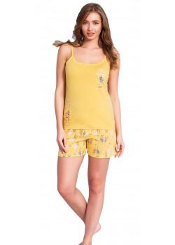 Pijama short dama Funny galben