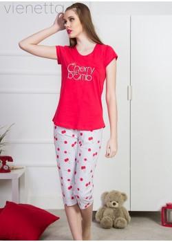Pijama capri dama Cherry Bomb