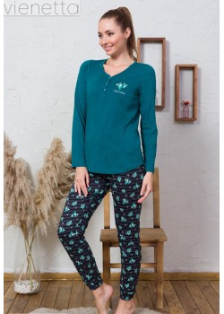 Pijama dama cu nasturi la piept Be Green