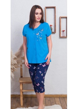 Pijama capri cu nasturi marimi mari Butterfly