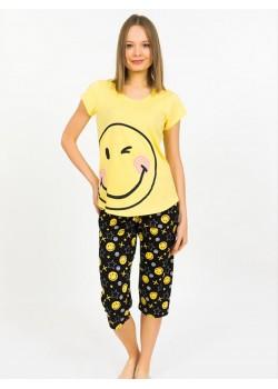 Pijama capri dama Smiley Face